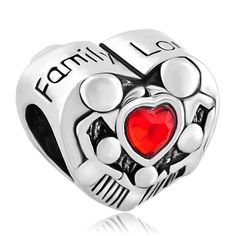 Family charm bracelet Charms Beads - mother daughter charms mother son charms mom dad charms heart beads Image.