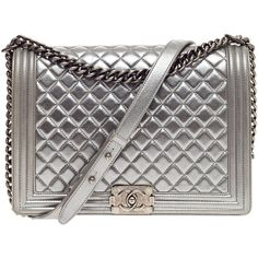 Pre-Owned Chanel Boy Flap Quilted Lambskin Large ($5,240) ❤ liked on Polyvore featuring bags, handbags, silver, quilted handbags, quilted purse, chain strap purse, chanel and grey handbags