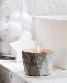 Bougie parfumée ciment 30h cristaux de neige - Bougies La Française