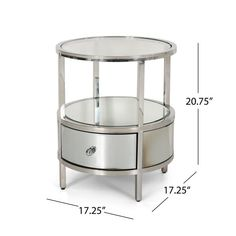 Christopher Knight Home Beeching Stainless Steel/Tempered Glass Round End Table