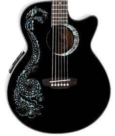 Gorgeous  glossy black  acoustic Luna Guitar, with abalone inlay dragon & crescent moon;  built in tuner & pre-amp .
