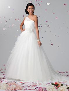 Alfred Angelo Style 2388 - Net, Crystal Beading, Satin Ribbon, Organza Flower, Chapel Train