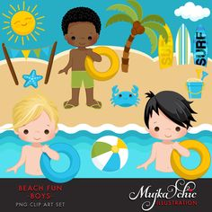 Beach Fun Clipart for Boys Summer is here! Perfect Beach party set for boys. Set includes 3 boy charcters, swimming and standing at the beach, Sun and cloud, Beach bunting banner, beach ball, bucket full of sand, coconut tree, palm tree, surf boards and starfish cliparts.  Bonus 5×7 background seen at the backdrop is included. Perfect for invitations, party printables and embroidery.  Contains 16 high quality Cliparts Format: 300 DPI transparent PNG files Size: Most cliparts are saved around…