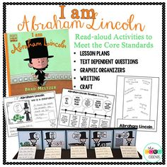 "Teach students about Abraham Lincoln in a kid-friendly way.  A week of meaningful activities and a culminating art project. ""I am Abraham Lincoln"""