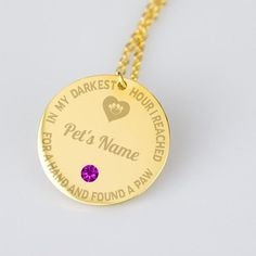 Dog or Cat Lover Engraved Personalized Pendant With Swarovski Crystal In My Darkest Hour I Reached for a Hand Pendant Pet Memorial Gifts, Birth Month, Pet Names, Pet Memorials, Dog Gifts, Washer Necklace, Cat Lovers, Swarovski Crystals, Dog Cat