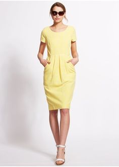 June Fitted Dress in Yellow