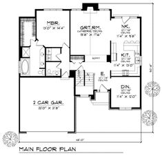 Traditional Style House Plan - 3 Beds 2.5 Baths 1987 Sq/Ft Plan #70-263 Floor Plan - Main Floor Plan - Houseplans.com