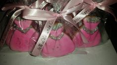 Quinceanera Cookie Favors, Pink and Silver Dress Cookies