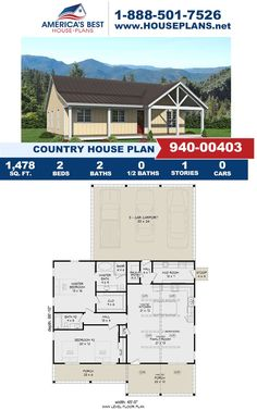 Fall in love with this Country design, that gives your family 1,478 sq. ft., 2 bedrooms, 2 bathrooms, a carport garage, mud room, a mud room, a kitchen island, and a covered porch. Visit our website for more information on Plan 940-00403. Country House Plans, Best House Plans, Carport Garage, Floor Plan Drawing, Stair Detail, Dormer Windows, Construction Cost, House Stairs, Build Your Dream Home