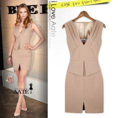 Free Shipping OL Sleeveless V-neck Linen Sheath Short Mini Summer Dress Women Party Dress Lady One-piece Dress W/ Front Slit $26.90