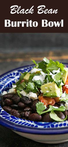 Burrito Bowl! With black beans, rice, avocados, salsa, red cabbage, and lime. On SimplyRecipes.com #BurritoBowl #BlackBean