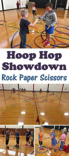 Hoop Hop Showdown - Rock Paper Scissors Hula Hoop Activity PE Teacher Tara Yost has shared a great variation to the popular activity! In this version, students are more active and not standing around during the game. Physical Education Activities, Elementary Physical Education, Pe Activities, Preschool Games, Education Quotes, Pe Games For Kindergarten, Health And Physical Education, Pe Games Elementary, Elementary Schools