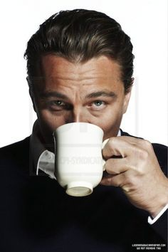 "Leonardo DiCaprio drinking coffee. An amazing ""mug"" for your morning coffee!  Great food prop !"