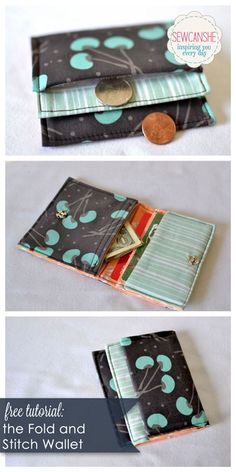Free tutorial: Fold and Stitch Wallet. Works with printed fabric panel or your own fabric. Sewcanshe