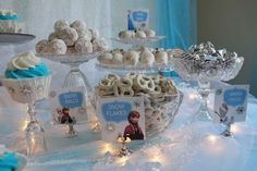 Fantastic party food at a Frozen girl birthday party!  See more party planning ideas at CatchMyParty.com!