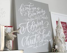Luke 2 Christmas canvas art by Lindsay Letters.