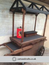 Traditional Wooden Cart : Garden Flower Barrow, Market Stall, Vending Trolly 01