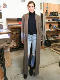 Fitted turtleneck + jeans + duster coat + boots