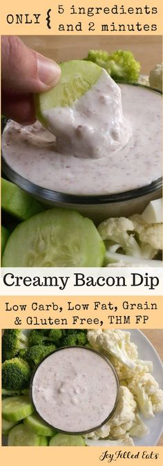 Creamy Bacon Dip - Low Carb, Low Fat, THM FP, Grain Gluten Sugar Free - My Creamy Bacon Dip will not disappoint. It is rich in flavor despite being low fat & low carb. Serve with veggies for a guilt free appetizer or side.
