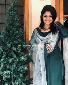 Aparna Balamurali in shemy outfit Simple Kurta Designs, Silk Kurti Designs, Salwar Designs, Kurta Designs Women, Kurti Designs Party Wear, Indian Gowns Dresses, Indian Fashion Dresses, Dress Indian Style, Indian Designer Outfits