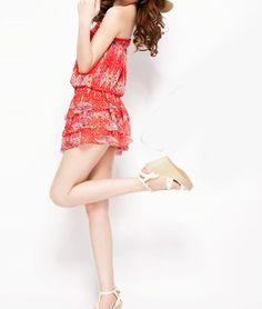 Bohemian Layering Flouncing Totem Red Chiffon Mini Dress