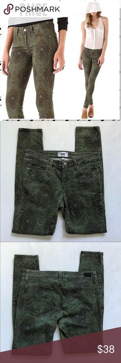 Paige Jeans Verdugo Skinny Estate Paisley Green Paige Jeans Verdugo Ultra Skinny Estate Green Paisley Print. The green paisley design is classic yet edgy and can be dressed up or down. Very slim fit, almost like a legging. Bought at Anthropologie. Good used condition. No rips stains or holes. Only flaw is slight fade by the under butt area, just the color it's not thin fabric. I tried to photograph this but its slight fade. Photos are best descriptors. Measurements are in photos. Retails…