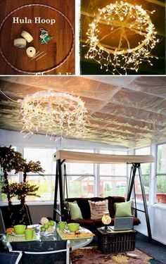 The Best 21 Diy Lighting Ideas for Summer Patio and Yard Diy If you want to entertain friends or hold a family party in the yard or simple relax with a good book in a summer night, then you need to have proper outdoor lighting. Backyard Lighting, Deck Lighting, Landscape Lighting, Lighting Ideas, Wall Lighting, Lighting Design, Hula Hoop Chandelier, Outdoor Chandelier, Cool Chandeliers