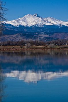 Reflections of the Twin Peaks, Mt.Meeker 13,911 ft and Longs Peak 14,255 ft. Boulder County, #Colorado, United States.