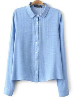 Blue Lapel Long Sleeve Polka Dot Blouse - Sheinside.com