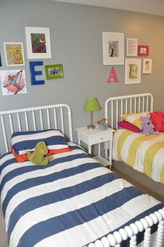 I love this for a shared room! Cute for girls or a boy/girl room.