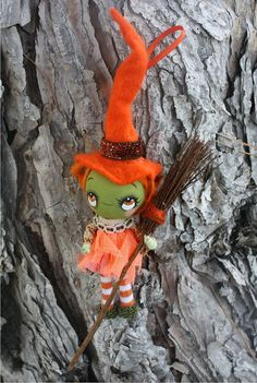 Witch Doll Halloween Art Girl Broom October Fall by thepoppytree, $39.00