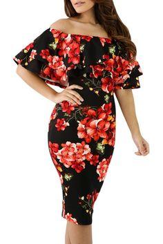 52d094584d6f Black Red Floral Layered Ruffle Off Shoulder Midi Dress