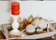 It's Fall, and I'm sharing 12 Fall Coffee Table Tray Decor Ideas that I hope will inspire you in your fall decorating. Coffee Table Tray, Coffee Table Design, Small Wooden Tray, Autumn Coffee, Decorating Coffee Tables, Tray Decor, Apartment Living, Living Room, Decor Ideas