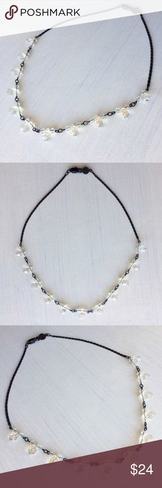 """Crystal Formal Necklace Choker with Black Chain Crystal Necklace/Choker with Black Chain and lobster claw clasp. Great for formal occasions (prom, weddings, anniversary). Only worn a couple times. Beautiful! Length: almost 15.75 inches. Stamped """"Krystals By Bellagio"""".  Jewelry Necklaces"""