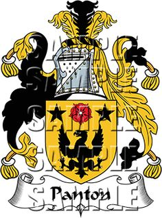 Panton Family Crest apparel, Panton Coat of Arms gifts