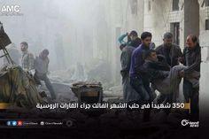 استشهد وجرح مئات المدنيين في #حلب  جراء الهجمات الجوية التي نفذتها طائرات النظام على المدينة خلال شهر نيسان الماضي. وبحسب مركز توثيق الانتهاكات في حلب قتلت الروسية والتابعة لنظام خلال الشهر الماضي 347 مدنيا بينهم 38 امرأة و76 طفلا بالإضافة إلى 7 أطباء وممرضين و5 من الدفاع المدني. وأشار المركز إلى أن النظام يستهدف بوحشية الأحياء السكنية في المناطق الخاضعة لسيطرة المعارضة في المدينة وجوارها منذ نحو أسبوعين. من جهتها أفادت فرق الدفاع المدني في حلب أن نحو 200 مدني قتلوا جراء استهداف النظام…