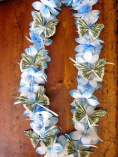Blue silk tower money lei