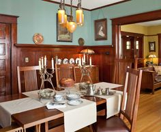 Craftsman dining room with aqua walls and wood wainscoting -- photo: William Wright -- Arts & Crafts Homes and the Revival