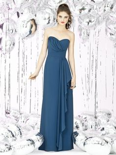 Social Bridesmaids 8119 Full length strapless nu-georgette dress with draped detail at bodice and cascading ruffle at front skirt. Bridesmaid Maid of honor & Mother of Bride Dress. #SocialBridesmaids8119 #bridesmaid #bleudress #longdress #straplessdress #socialbridesmaid