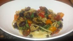 Pasta Puttanesca with Roasted Eggplant