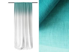 Ombre curtains Mint fade to white linen window curtain blackout or unlined drapes