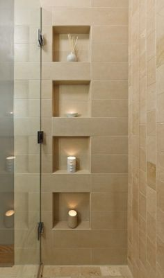 """6""""x12"""" porcelain tiles (wall with niches)  3""""x6"""" marble tiles (wall to right and floor)"""