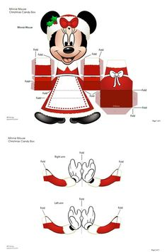 789 minnie disney paper toy template Boîte cadeau Minnie