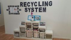 Recycling system in centre foyer where families and staff can drop off items that can be reused in the centre. Children love to visit and choose objects for their projects/crafts. Recycling Station, Recycling Center, Recycling Ideas, Forest Classroom, School Classroom, Play Based Learning, Early Learning, Early Education, Early Childhood Education