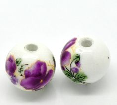 5pc Ceramic Purple Floral Beads  12mm  Ships from by TheVioletRoom