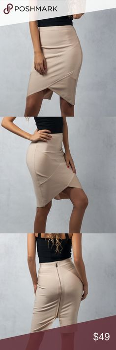 High waisted bodycon skirt A perfect skirt for a night out. Make sure you stand out by pairing this one-of-a-kind skirt with a nice elegant top, a bodysuit, or maybe just a simple t-shirt, throw in your favorite heels for an elegant and classic look. •High-Waisted Skirt •3/4 Length •Bodycon , thick stretch material •Crossover Look •TriangleCut Outat Bottom •Back Slit •Back Seamless Zipper  Model Stats: Model is US size 2 / Small [wearing a Small] Height: 5'10 / Bust: 34C / Waist: 27.5…