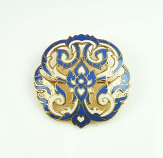 Vintage Siam Blue White Enamel Bronze Brooch