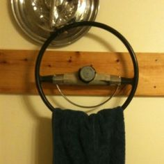 What a Cool Idea for a Classic Car Lover!Steering wheel towel rack. Repurpose, Recycle, Upcycle, Vintage Décor, Home Decor, DIY!