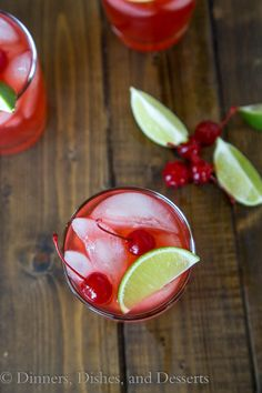 Cherry Limeade Margaritas (both with and without alcohol)