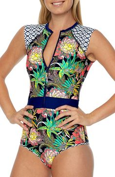 37709c87b17c Body Glove  Wanderer  Front Zip One-Piece Swimsuit available at  Nordstrom  Monokini